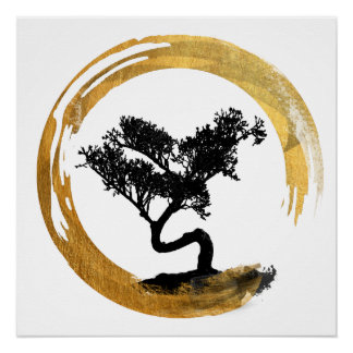 Bonsai Tree. Zen Enso Circle. Watercolor Art Poster