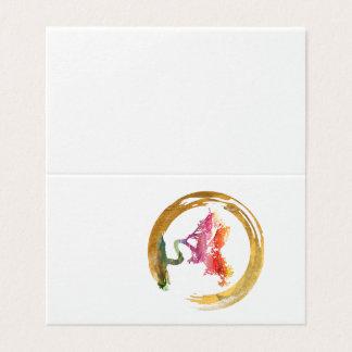Bonsai Tree. Zen Enso Circle. Watercolor Feng Shui Card