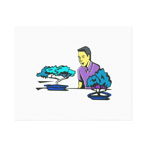 bonsai trees with purple shirted man .png gallery wrap canvas