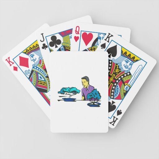 bonsai trees with purple shirted man .png bicycle poker deck