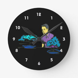 bonsai trees with purple shirted man .png round clock