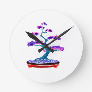 bonsai upright tree graphic blue.png round wall clocks