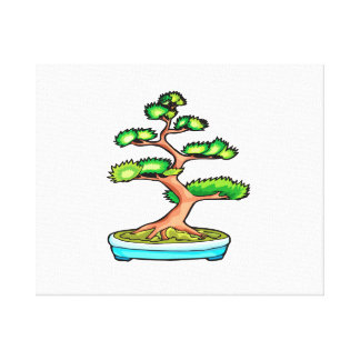 bonsai upright tree graphic green.png canvas print