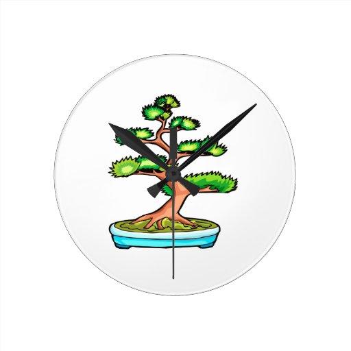 bonsai upright tree graphic green.png round wallclock