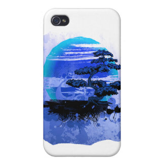 Bonsai Vintage Graphic Blue Version Cover For iPhone 4
