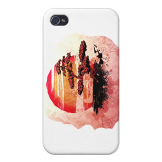Bonsai Vintage Graphic Cool Red Version iPhone 4 Cases