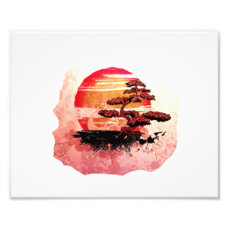 Bonsai Vintage Graphic Cool Red Version Photo Print
