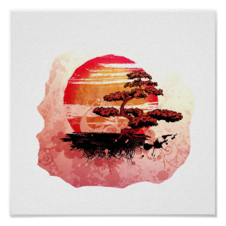 Bonsai Vintage Graphic Cool Red Version Print