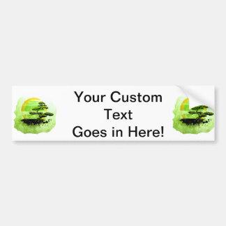 Bonsai Vintage Graphic , Green Version Car Bumper Sticker