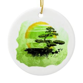Bonsai Vintage Graphic , Green Version ornament