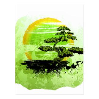 Bonsai Vintage Graphic , Green Version Postcard