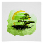 Bonsai Vintage Graphic , Green Version Posters