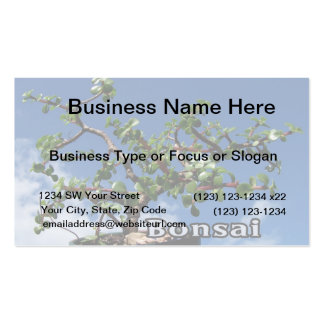 Bonsai w text photograph portulacaria afra tree 1. business card