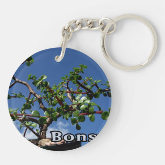 Bonsai w text photograph portulacaria afra tree 1. keychain