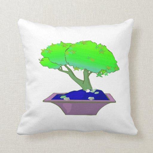 Bonsais partidos del tronco en el árbol graphic.pn cojin