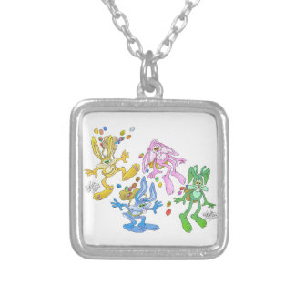Bonucing bunnies.jpg silver plated necklace