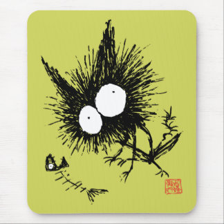 Bony cat and Fishbone Matcha Mouse Pad