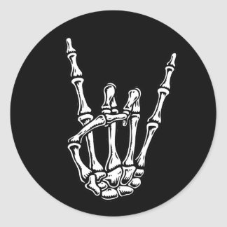 Bony Rock Hand Round Stickers