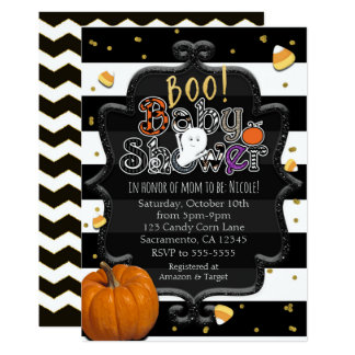 BOO! Baby Shower Ghost Whimsical Halloween Card