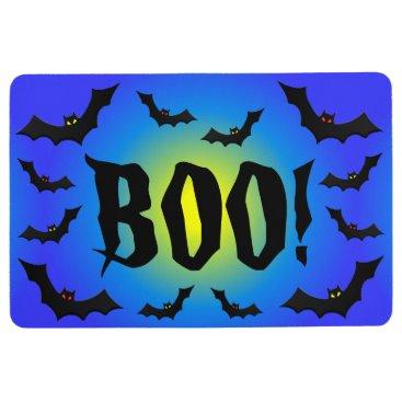 Halloween Themed BOO! Bats on Blue Floor Mat