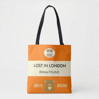 Boo Bear Book Cover - Pumpkin Orange Tote Bag
