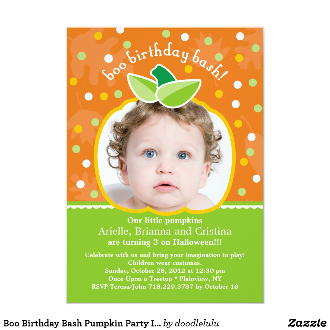 Boo Birthday Bash Pumpkin Party Invitation