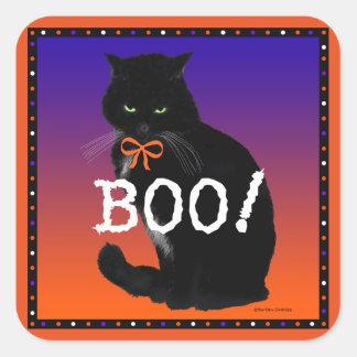 """Boo!"" Black Cat Halloween Stickers"