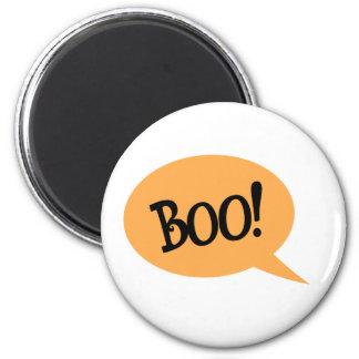 Boo black text in orange speech bubble magnet