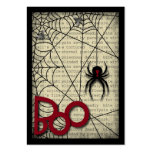 Boo Black Widow Spider & Creepy Text for Halloween Large Business Cards (Pack Of 100)