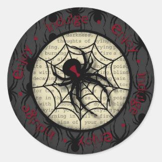 Boo Black Widow Spider & Creepy Text for Halloween Classic Round Sticker