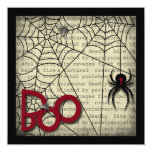 Boo Black Widow Spider & Creepy Text for Halloween 5.25x5.25 Square Paper Invitation Card