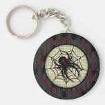 Boo Black Widow Spider & Creepy Text for Halloween Basic Round Button Keychain