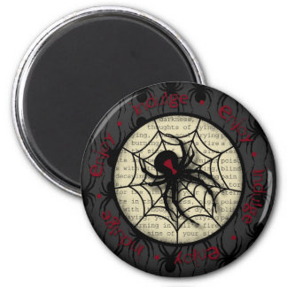 Boo Black Widow Spider & Creepy Text for Halloween Magnet