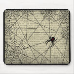 Boo Black Widow Spider & Creepy Text for Halloween Mouse Pad