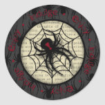 Boo Black Widow Spider & Creepy Text for Halloween Classic Round Sticker