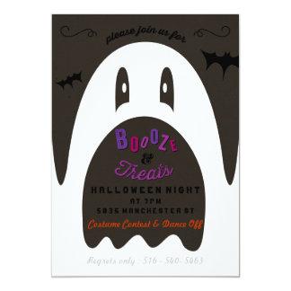 Boo Booze & Treats Ghost Halloween Party Invite