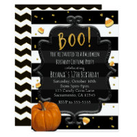 BOO! Candy Corn & Orange Pumpkin Halloween Invitation