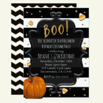 BOO! Candy Corn & Orange Pumpkin Halloween Invitation