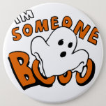 Boo - cartoon ghost - baby ghost - funny ghost pinback button