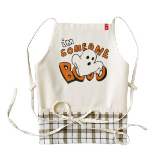 Boo - cartoon ghost - baby ghost - funny ghost zazzle HEART apron