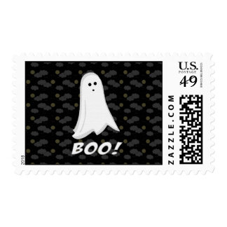 Boo, Cute Ghost Black and White Postage