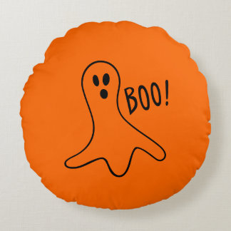 Boo Cute Ghost Halloween Orange Black Round Pillow