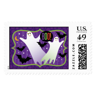 Boo! Cute Halloween Ghosts Postage Stamp