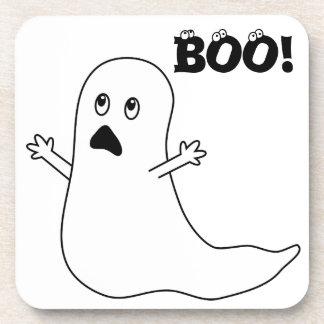 Boo! Cute Scared Ghost Cartoon Coasters
