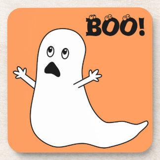 Boo! Cute Scared Ghost Cartoon Drink Coaster