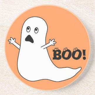 Boo! Cute Scared Ghost Cartoon Drink Coasters