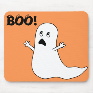 Boo! Cute Scared Ghost Cartoon Mouse Pad