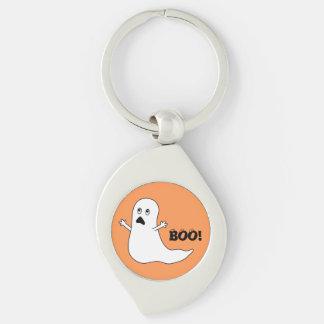 Boo! Cute Scared Ghost Cartoon Keychain