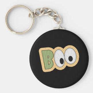 BOO Eyeballs Halloween Art Basic Round Button Keychain