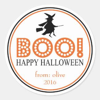 Boo! Flying Witch (Black / Orange) Classic Round Sticker